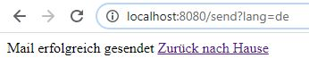 Mail sent success page in german