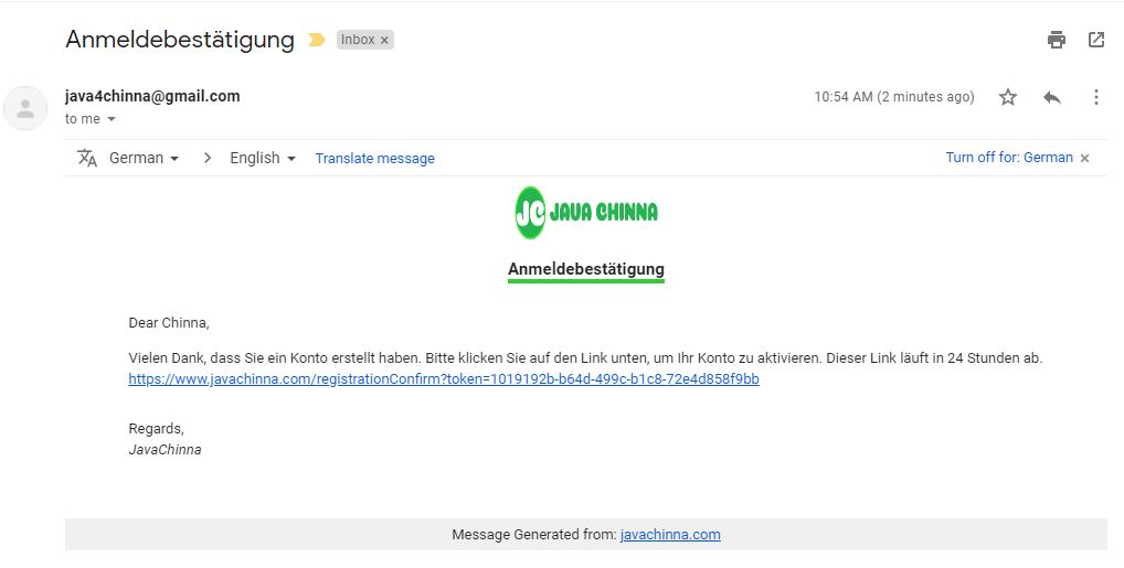 Registration Confirmation Email in german