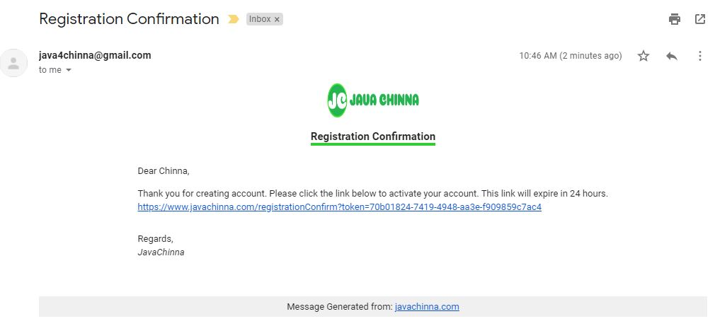 Registration Confirmation Email in english