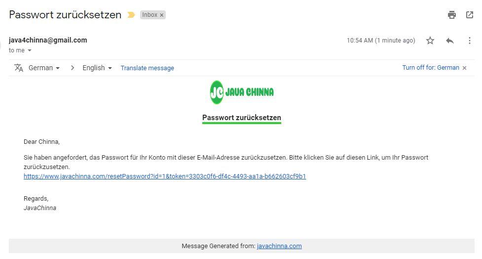Reset password mail in german