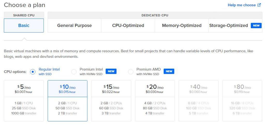 Choose basic plan with 2 GB RAM