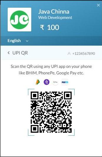Razorpay UPI QR Payment mode