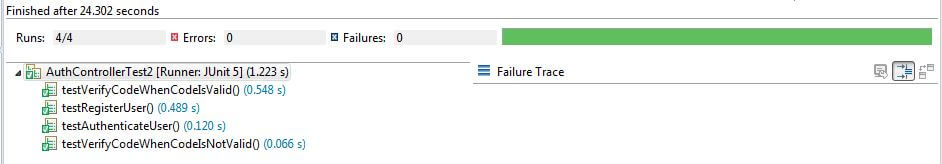 Authentication REST Controller Unit Test Result